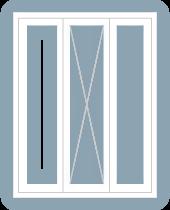 casement window triple center fixed